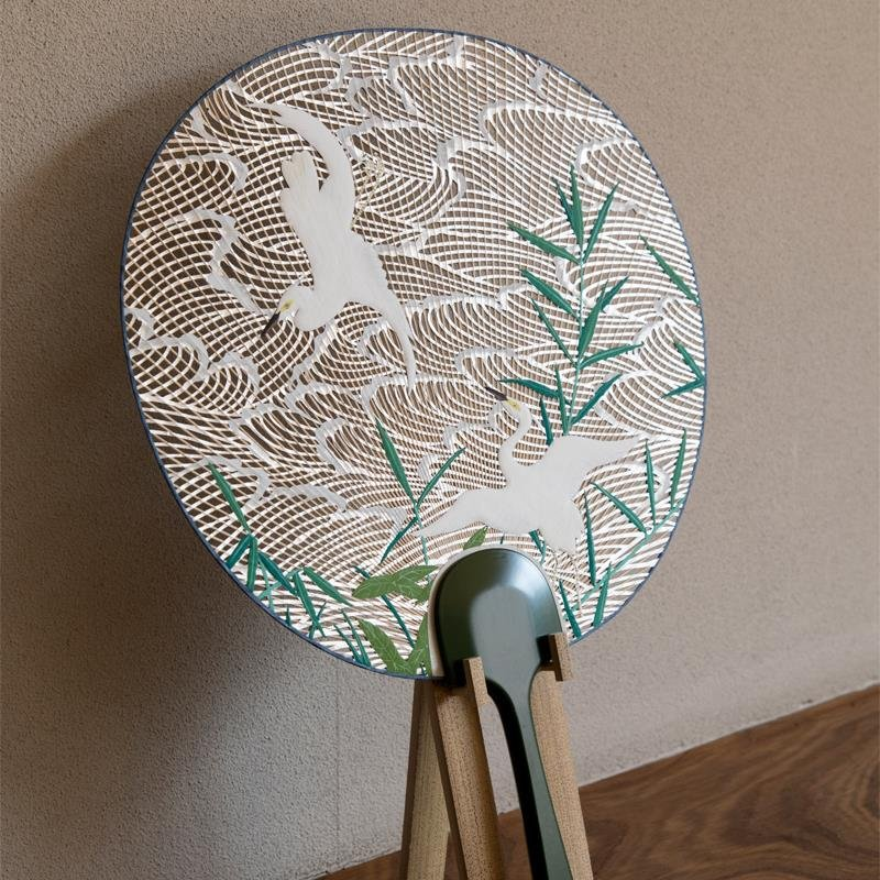 Kyoto Uchiwa Fans, a Japanese craft, high grade product example, diagonal front view