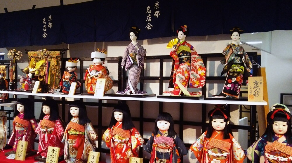 Kyoto Dolls, a Japanese traditional craft, various dolls on shelves