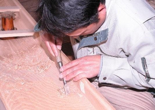 Fukuyama Japanese harp - Koto, a japanese traditional craft, making process of carving body