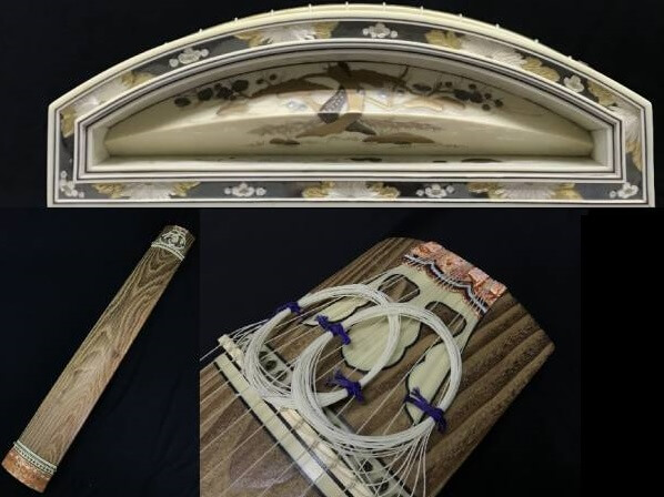 Fukuyama Japanese harp - Koto, a japanese traditional craft, details of decorations