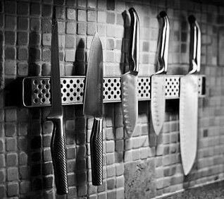 Japanese chef knives, several knives hanged on a wall