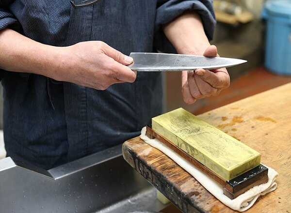 Traditional Japanese chef knives, Sakai knives, sharpening with waterstone