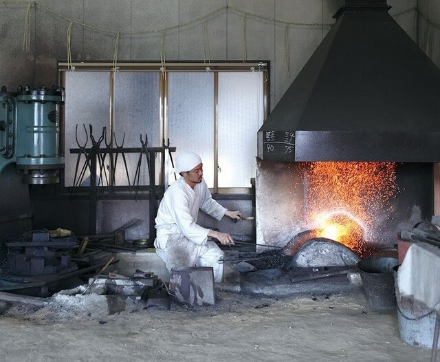 Seki Japan, a most famous producing center of Japanese chef knives, making process by blacksmith
