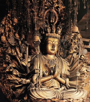 Japan's Ultimate Buddhist Artwork: The Thousand-Armed Kannon, actual statue in a temple