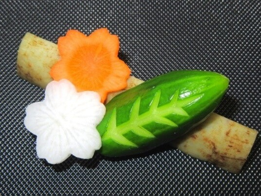 Bento, Japanese lunch box, decoration cut veges for bento