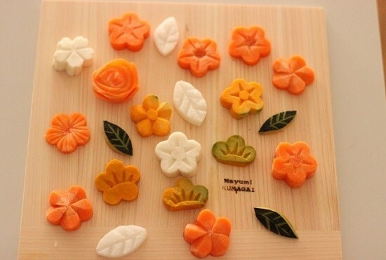 Bento, Japanese lunch box, decoration cut flowers made from vegetables