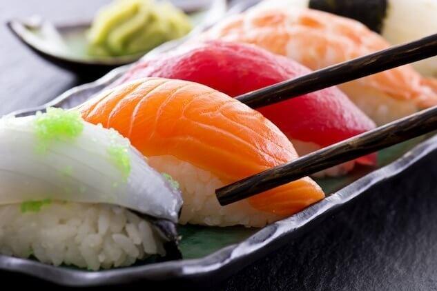 Sushi on Japanese style plate