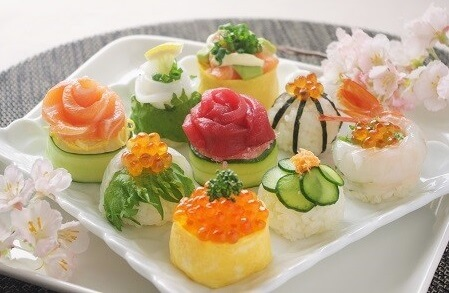 Easy recipe for Temari Sushi, various sushi on a dish