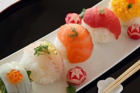 Easy recipe for Temari Sushi, serving on a plate