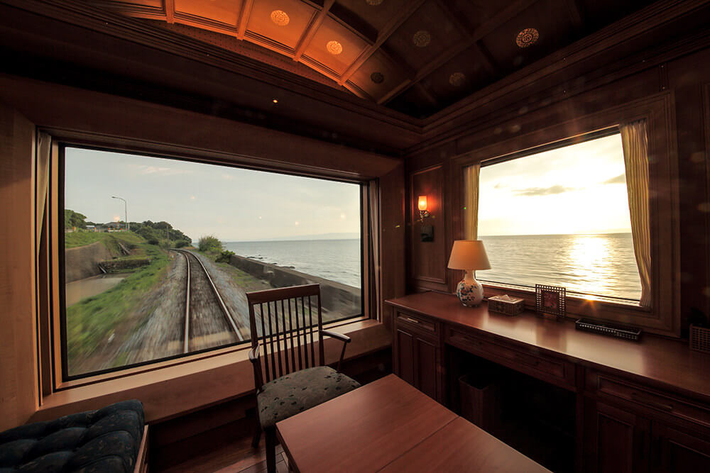 Seven Stars in Kyushu, cruise train of Japan, 7th car with landscapes from window