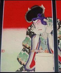 Ukiyo-e woodblock print by a famous Ukiyo-e artist Toyohara kunichika, Terakoya kubi jikken no ba, entire view