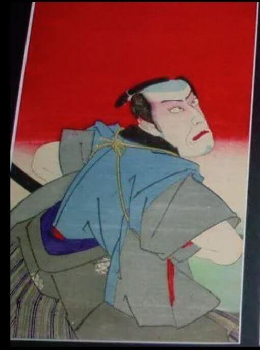 Ukiyo-e woodblock print by a famous Ukiyo-e artist Toyohara kunichika, Terakoya kubi jikken no ba, 1/3