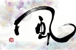 Japanese shodo, art calligraphy, Kanji letter of wind