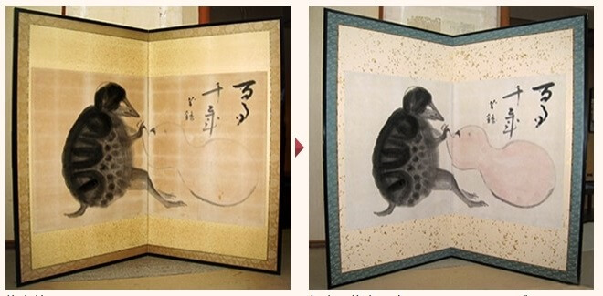 Art framing and repair techniques, a Japanese craftsmanship, repairing before and after