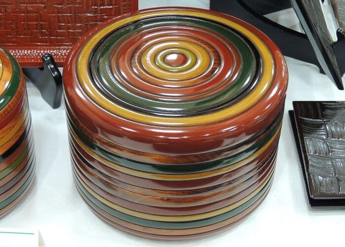 Kagawa lacquerware, a Japanese traditional craft, colorful basket box