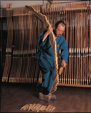 Miyakonojo Japanese longbow, a traditional craft, making process by a craftsman