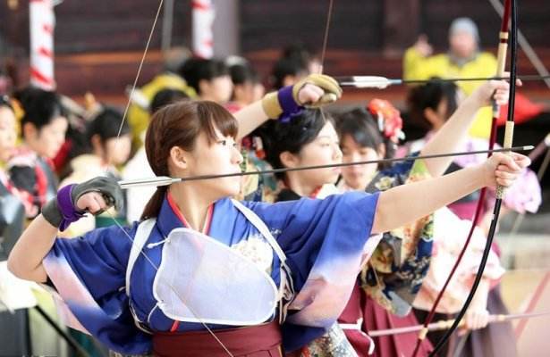 Miyakonojo Japanese longbow, a traditional craft, used in Shogatsu festival in Kyoto