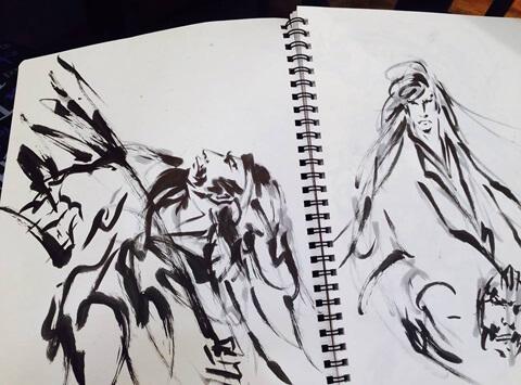 Fude pen, japanese writing brush pen, artistic drawing 1