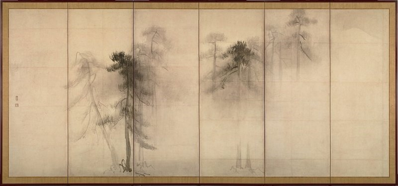 Hasegawa Sumi ink wash art, a Japan's national treasure, entire view