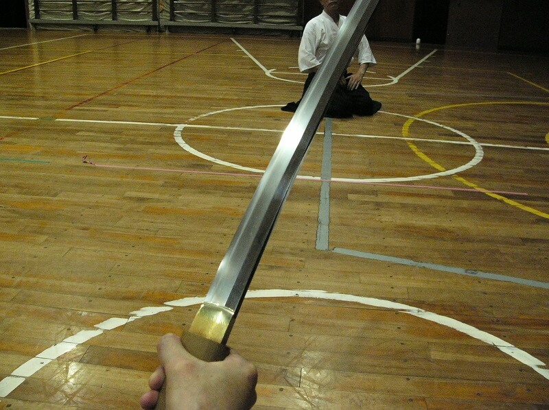 Japanese sword on hand