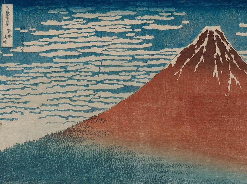 Ukiyo-e, Japanese woodblock print, Aka-fuji