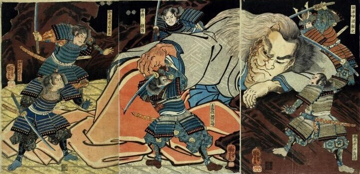 A legendary Japanese sword, national treasure Dojigiri Yasutsuna, Ukiyo-e depicting the sword's story