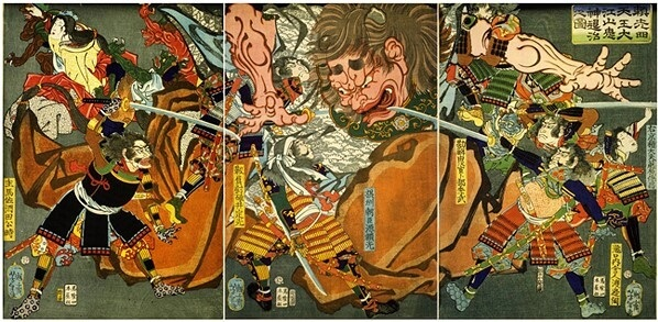 A legendary Japanese sword, national treasure Dojigiri Yasutsuna, Ukiyo-e depicting the swords legend