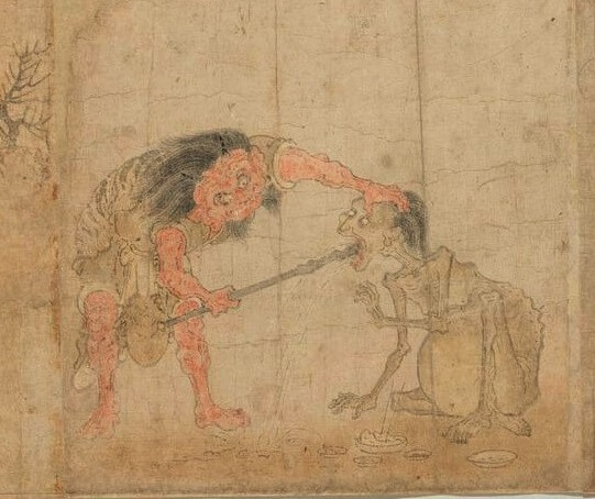 Japanese hanging scroll, a Japanese art, taking tongue away