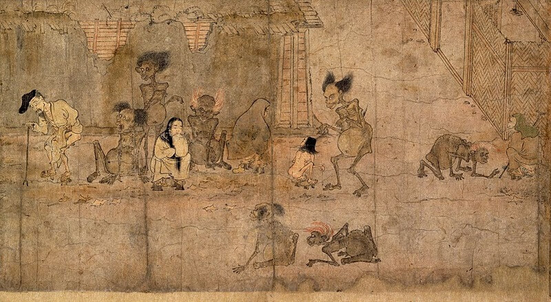 Japanese hanging scroll, a Japanese art, details 1