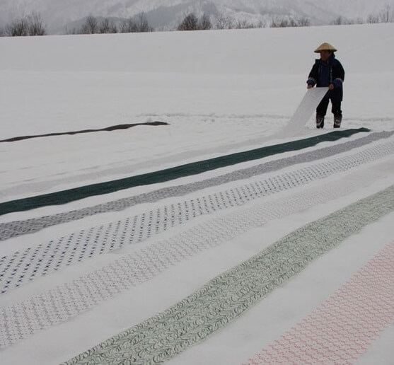 Kimono, Japanese traditional cloth, making fabric in snow field