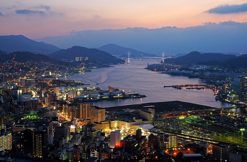 night landscape view of Nagasaki