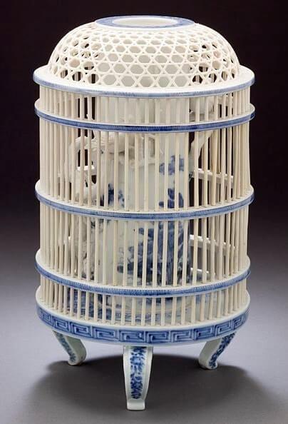 Hirado porcelain of Japanese crafts, cage