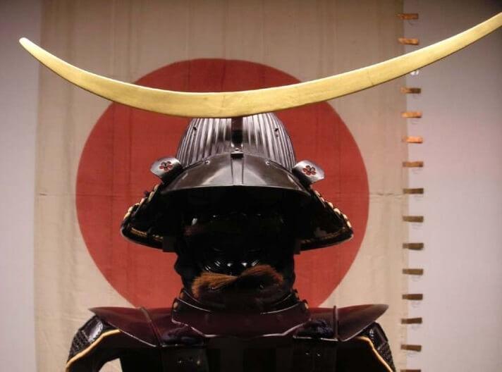 Samurai helmet, Japanese Kabuto, crescent moon shape crest