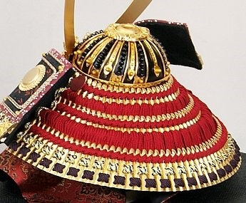 Samurai helmet, Japanese Kabuto, backside of Akaodoshi