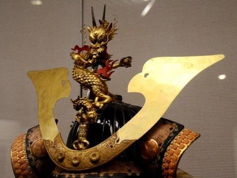 Samurai helmet, Japanese Kabuto, details of gorgeous crest