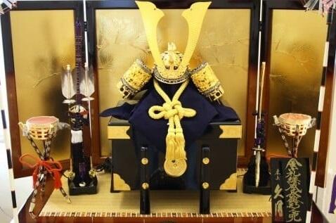 Samurai helmet, Japanese Kabuto, as a Samural doll