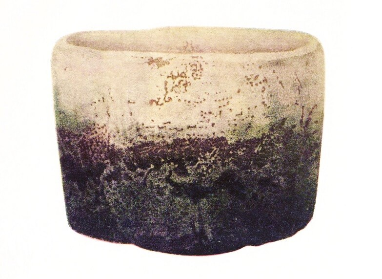 Rakuyaki Shiroraku tea cup, Japanese national treasure, entire view