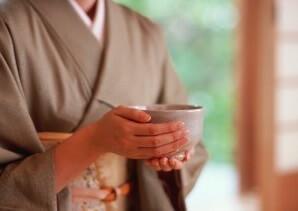 a Kimono woman in a tea ceremony