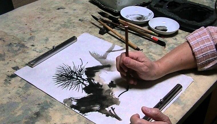 drawing Japanese Suibokuga ink drawing