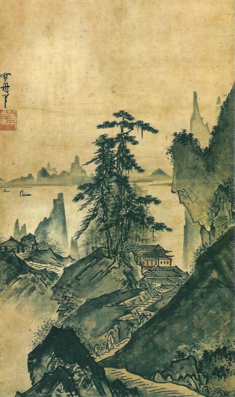 a famous Suibokuga ink drawing of Japan's national treasure