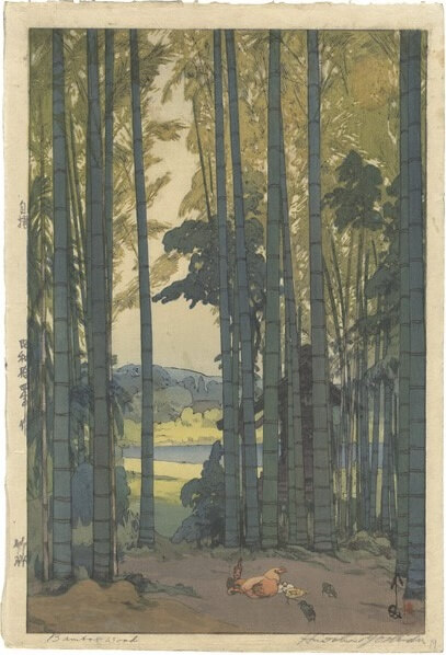 Japanese bamboo landscape in Ukiyo-e