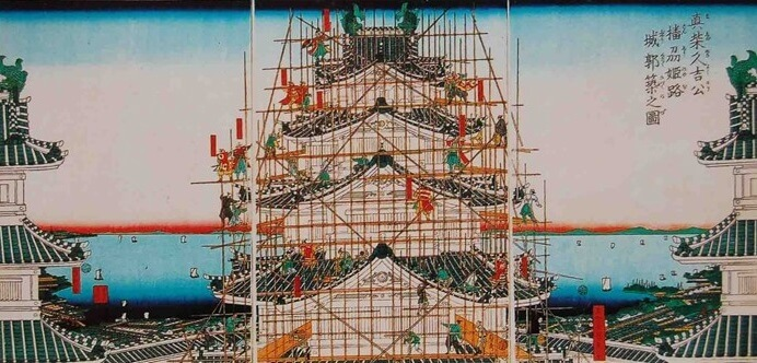 repairing Japanese castle with scaffolding by bamboo