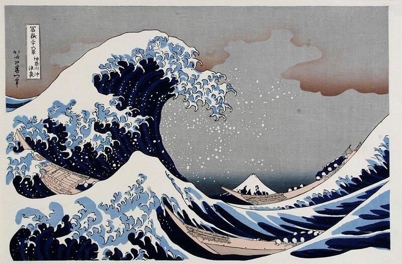 Ukiyo-e, Japanese woodblock print art, the great wave