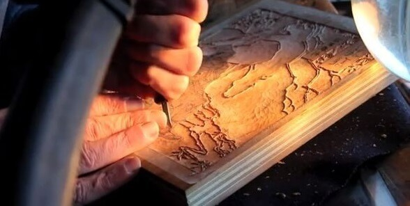 Ukiyo-e, Japanese woodblock print art, making process of carving