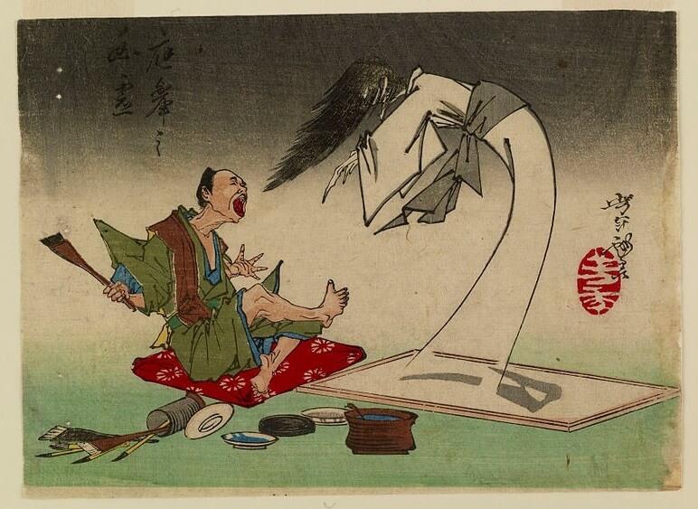 ghost in Ukiyo-e woodblock print
