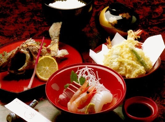 Japanese Kaiseki cuisine served by lacquerware