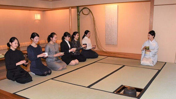 Japanese green tea ceremony in Tatami room