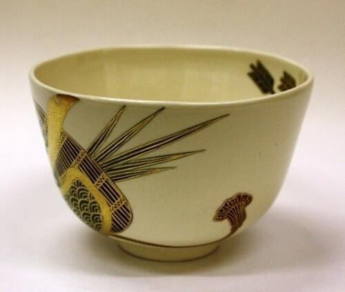 artistic Japanese green tea bowl, sharp shape