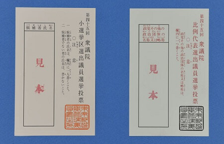 a Japanese voting paper