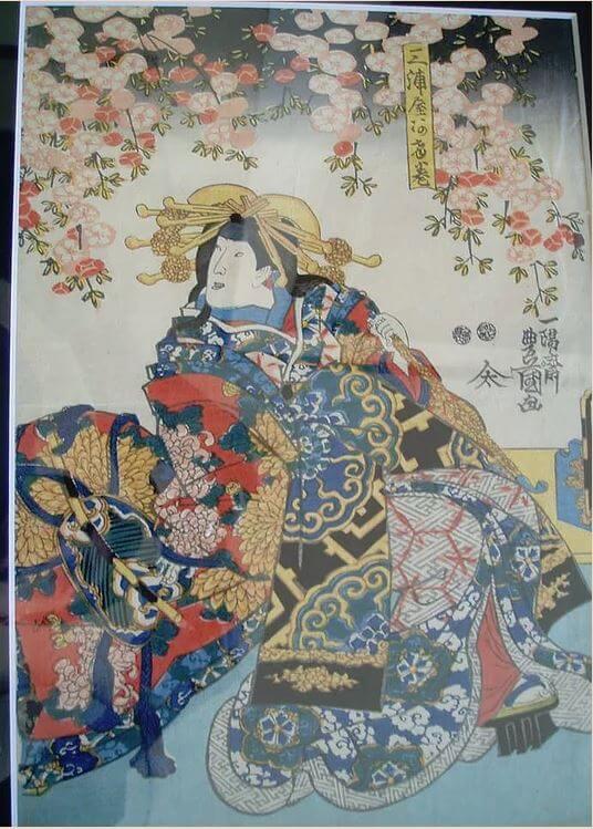 Genuine antique Ukiyo-e woodblock print, Utagawa Toyokuni III, entire view